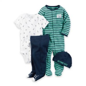 ENSEMBLE BEBE 4PIECES CARTERS BLUE