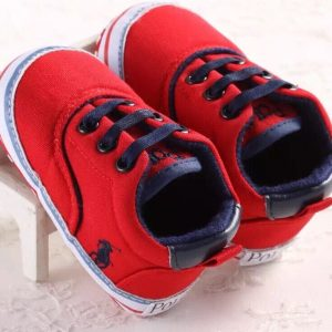 CHAUSSURES BEBE GARCON ROUGE A LACETS