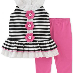 ENSEMBLE FILLE LEGGINGS RAYURES