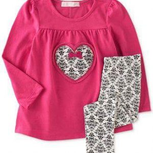 ENSEMBLE LEGGINGS FILLE ROSE